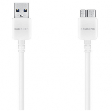 Samsung MicroUSB v3.0 DataCable ET-DQ10Y0WE - оригинален кабел за Samsung Galaxy S5, Samsung Galaxy S5 Neo, Galaxy Note 3 (100 см.) - бял (bulk)