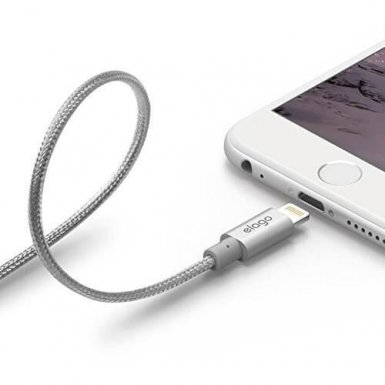 Elago Aluminum Lightning USB Cable - USB кабел за iPhone 6, iPhone 6 Plus, iPad, iPod и всеки Apple продукт с Lightning вход (сребрист)