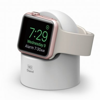 Elago W2 Watch Stand - силиконова поставка за Apple Watch (бяла)