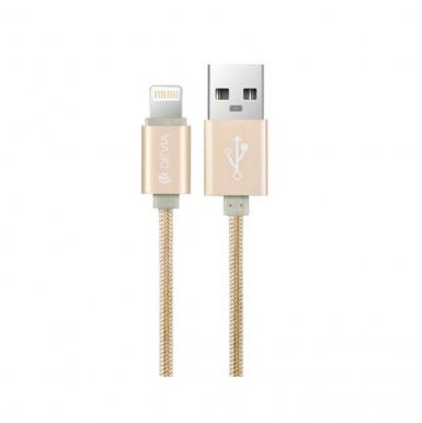 Devia Fashion MFI Lightning Data Cable 2m. - сертифициран плетен lightning кабел (200см.) за iPhone, iPad и iPod с Lightning вход (златист)