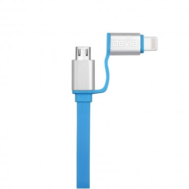 Devia Magic Forza 2 in 1 Cable - универсален кабел с Lightning и MicroUSB конектори (син)
