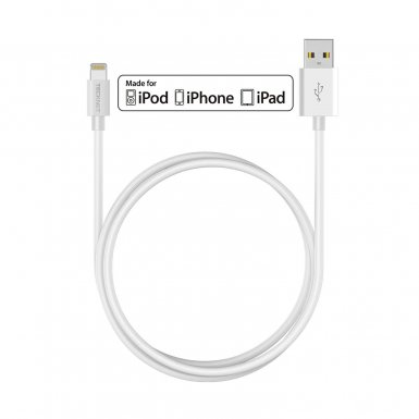 TeckNet P301 Apple MFi Certified Lightning to USB Cable 3m. - изключително здрав и качествен Lightning кабел за iPhone, iPad, iPod с Lightning (3 метра) (бял)