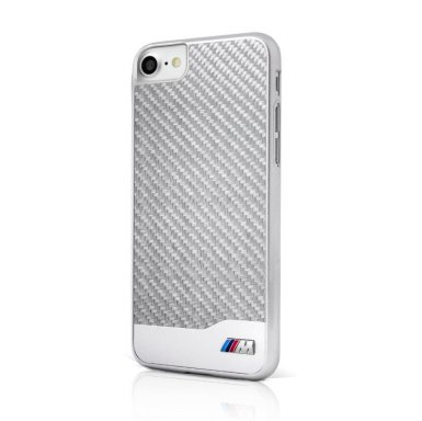 BMW M Carbon Fiber Hard Case - дизайнерски карбонов кейс за iPhone 8, iPhone 7 (сребрист)