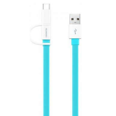 Huawei AP55S USB to MicroUSB and USB-C Data Cable - универсален кабел с MicroUSB и USB-C конектори (син)