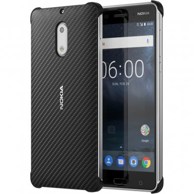 Nokia Carbon Fibre Design Case CC-802 - поликарбонатов кейс за Nokia 6 (черен)