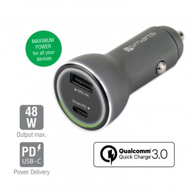4smarts Fast Car Charger VoltRoad iPD with Quick Charge 3.0 and Power Delivery - зарядно за кола с USB и USB-C изход (черен)