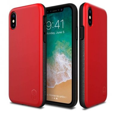 Patchworks Level ITG Case - хибриден удароустойчив TPU калъф за iPhone XS, iPhone X (червен)