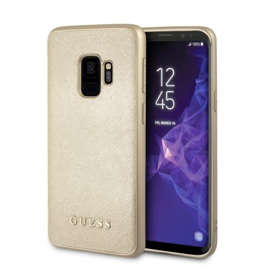 Guess Iridescent Leather Hard Case - дизайнерски кожен кейс за Samsung Galaxy S9 (златист)