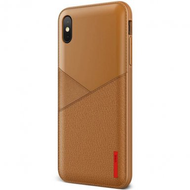 Verus Leather Fit Label Case - удароустойчив силиконов (TPU) калъф за iPhone XS Max (кафяв)