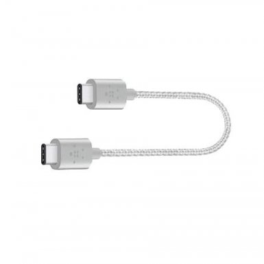 Belkin USB-IF Certified MIXIT Metallic USB-C to USB-C - кабел USB-C към USB-C (15 см.) (сребрист)