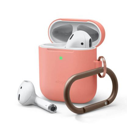 Elago Airpods Skinny Silicone Hang Case - тънък силиконов калъф с карабинер за Apple Airpods и Apple Airpods 2 with Wireless Charging Case (оранжев)