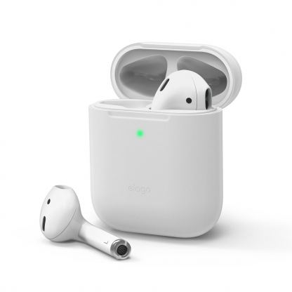 Elago Airpods Skinny Silicone Case - тънък силиконов калъф за Apple Airpods и Apple Airpods 2 with Wireless Charging Case (бял-фосфор)
