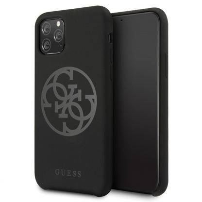 Guess 4G Tone on Tone Silicone Hard Case - силиконов (TPU) калъф за iPhone 11 Pro (черен)