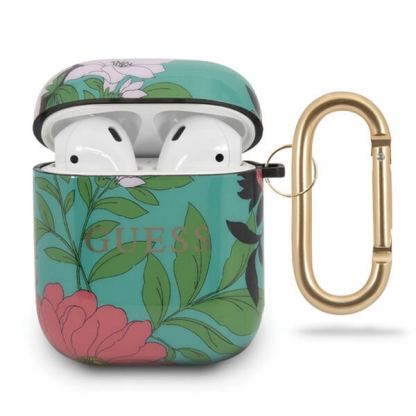 Guess Airpods Silicone Case Flower Collection No.1 - силиконов калъф с карабинер за Apple Airpods и Apple Airpods 2 (зелен)