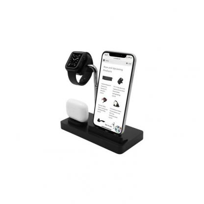 Macally 3-in-1 Apple Charging Stand - док станция за зареждане на iPhone, Apple Watch и Apple AirPods (черен)