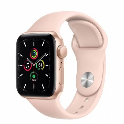 Apple Watch SE GPS, 40mm Gold Aluminium Case with Pink Sand Sport Band - умен часовник от Apple