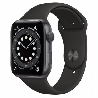 Apple Watch Series 6 GPS, 44mm Space Gray Aluminium Case with Black Sport Band - умен часовник от Apple