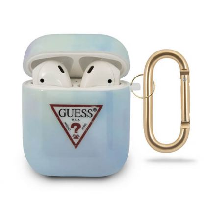 Guess Airpods Silicone Case Tie & Dye No.2 - силиконов калъф с карабинер за Apple Airpods и Apple Airpods 2 (син)