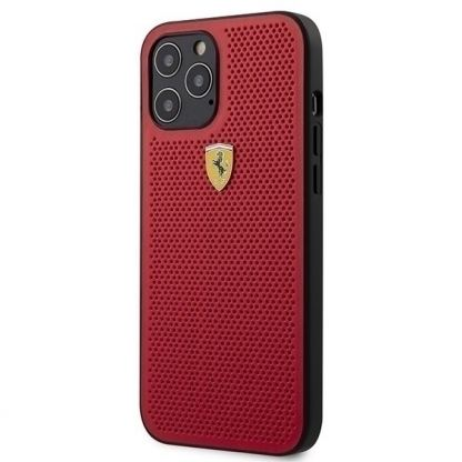 Ferrari On Track Perforated Hard Case - кожен кейс за iPhone 12, iPhone 12 Pro (червен)