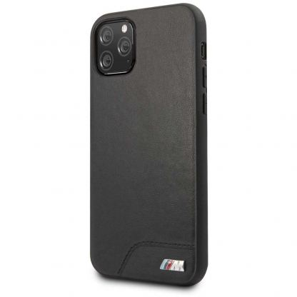 BMW M Collection Smooth PU Hard Case - кожен кейс за iPhone 12, iPhone 12 Pro (черен)