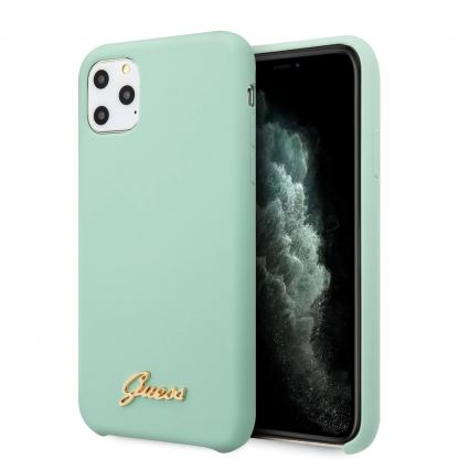Guess Hard Silicone Case - силиконов (TPU) калъф за iPhone 11 Pro (светлозелен)