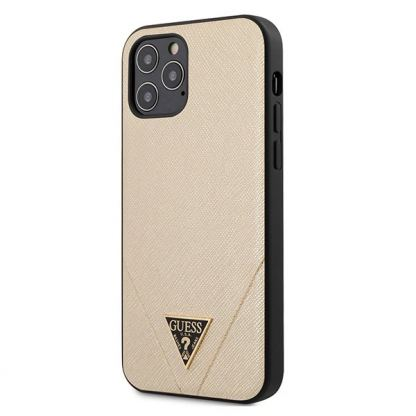 Guess Saffiano Leather Hard Case - дизайнерски кожен кейс за iPhone 12, iPhone 12 Pro (златист)