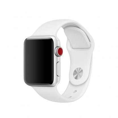 Apple Sport Band M/L - оригинална силиконова каишка за Apple Watch 38мм, 40мм (бял) (reconditioned) (Apple Box)