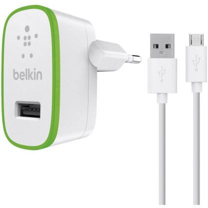 Belkin Universal USB Home Charger 2.1A with MicroUSB cable - захранване с USB изход 2.1А и MicroUSB кабел (бял)
