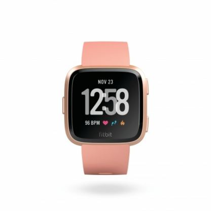 Fitbit Versa (NFC) - умен фитнес часовник с известия и следене на дневната и нощна активност на организма за iOS, Android и Windows Phone (розов-розово злато)