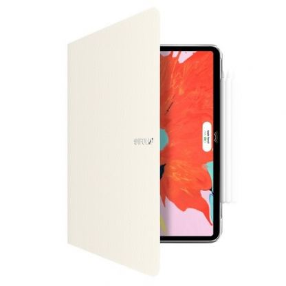SwitchEasy CoverBuddy Folio Case - кожен кейс с поставка и отделение за Apple Pencil 2 за iPad Pro 11 (2018) (бял)
