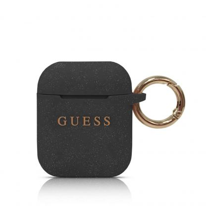 Guess Airpods Silicone Case - силиконов калъф с карабинер за Apple Airpods (черен)